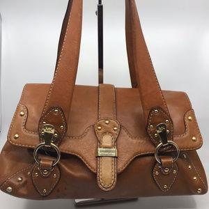 Michael Kors Brown Leather Cover On Shoulder Bag